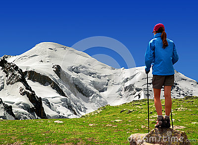 Girl looking at the Mont Blanc