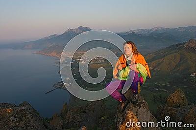 Girl looking on sunrise