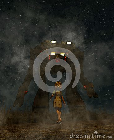 Free Girl Looking To A Giant Robot Stock Photography - 117188632