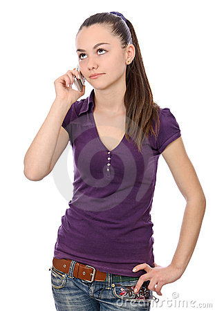 Girl looking up indecision phone talk