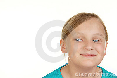 Girl looking at white copyspace