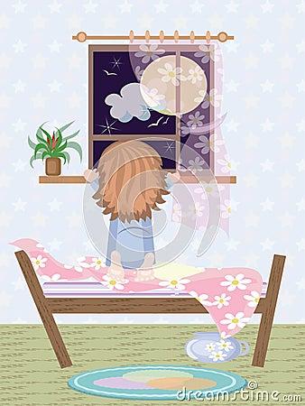 Girl looking in the window