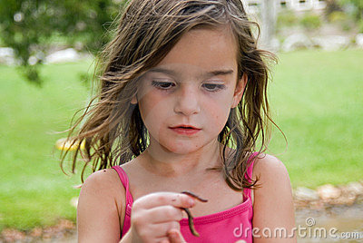 Girl Looking at a Worm