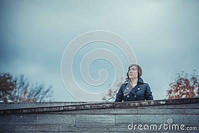 Girl looks on the sky