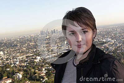 Girl on Los Angeles background