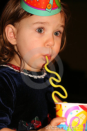 Girl Lost in Birthday Party Excitement