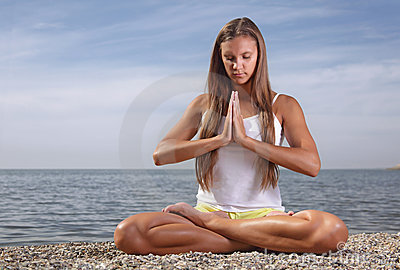 Girl in lotus pose