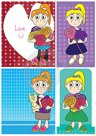 Girl Love Flower Card Set_eps