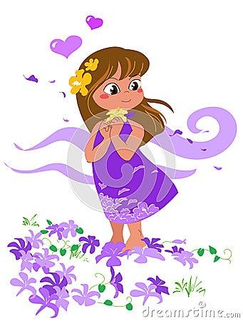 Girl in love - vector illustration.