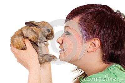 Girl loving rabbit