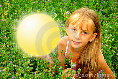 Girl with luminous round