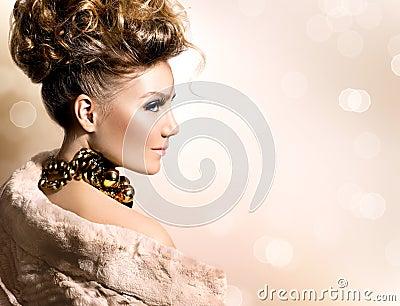 Girl in luxury fur coat