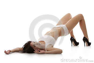Girl lying on the floor