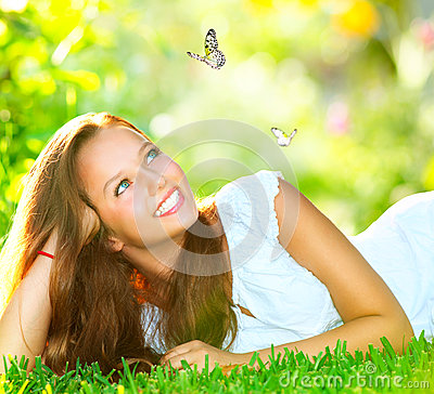 Free Girl Lying On Green Grass Stock Photo - 29212490