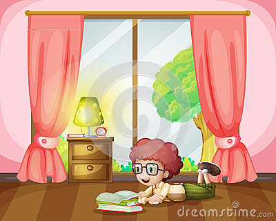 Girl lying and reading in room