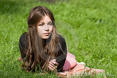Girl lying in th park