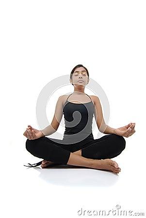 Girl makes pose of yoga