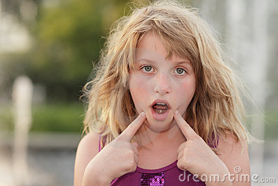 Girl making a funny face