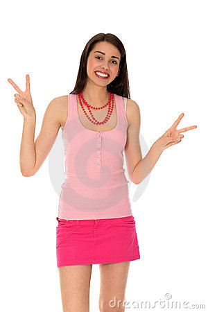 Girl Making Peace Sign
