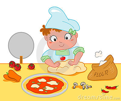 Girl making pizza