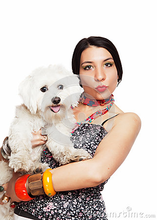 Girl with maltese dog