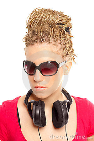 Girl many plaits hairstyle with headphones