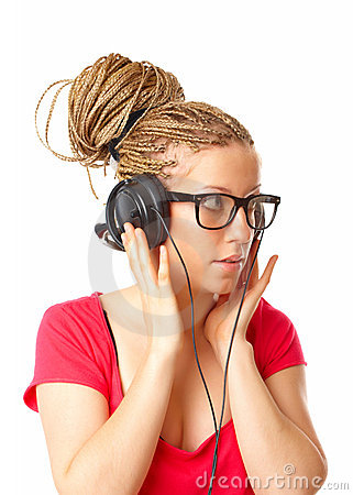Girl many plaits hairstyle listening to the music