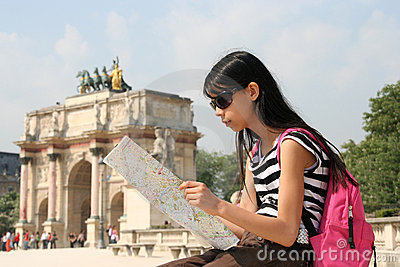 Girl with Map in Paris
