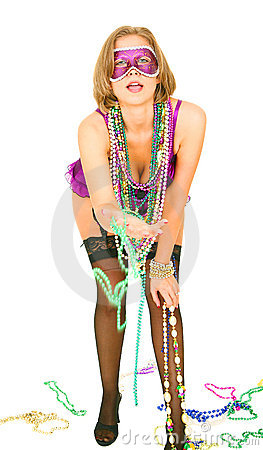 Girl In Mardi Gras Giving Beads