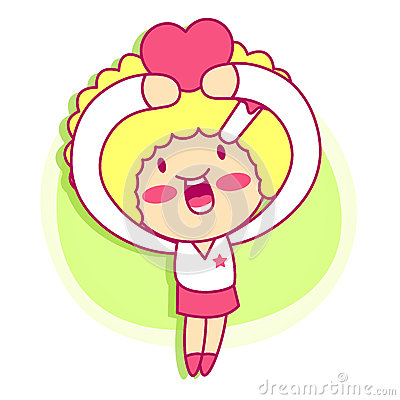 It girl mascot Sales promotion. Style Girl Character Design Seri