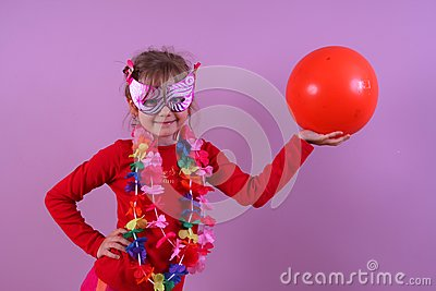 Girl in the mask with a ball