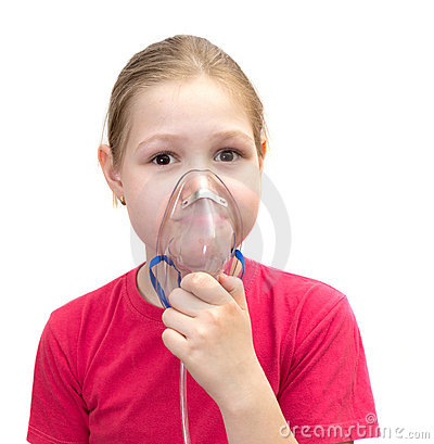 The girl with a mask for inhalations