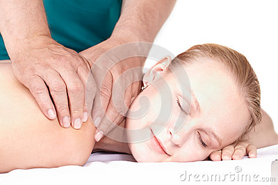 Girl massage, closed eyes.