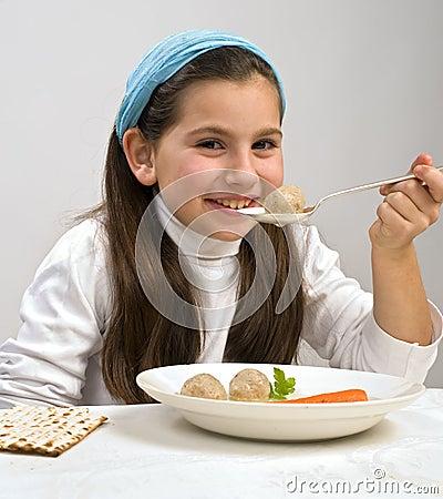 Girl matzo ball soup
