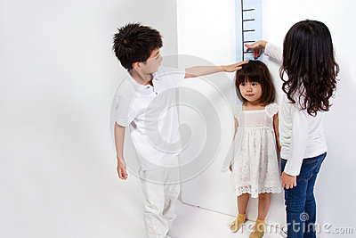 Girl measuring height