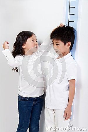 Girl measuring height