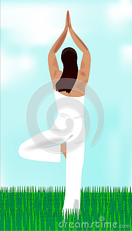 The girl meditates and practices yoga zen