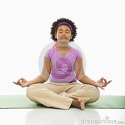 Girl meditating.