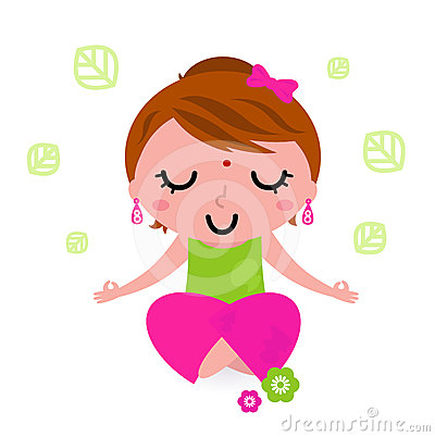 Girl meditating and practicing yoga