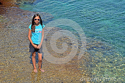 Girl in the mediterranean