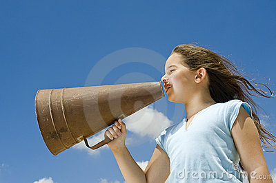 Girl and megaphone