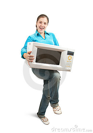 Girl with microwave oven