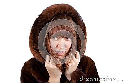The girl in a mink fur coat