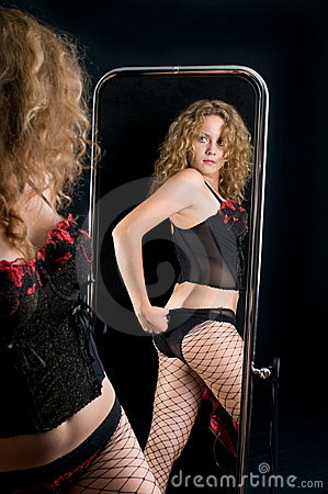 The girl and a mirror.