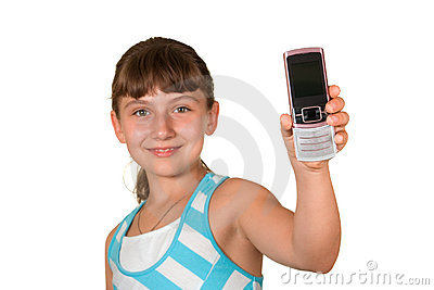 The girl with a mobile phone