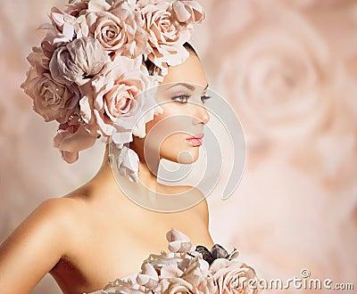 Girl modelo com cabelo das flores