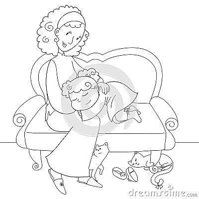 Girl and mom- bw
