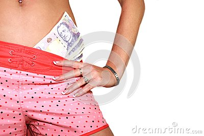Girl With Money Royalty Free Stock Image - Image: 16018286