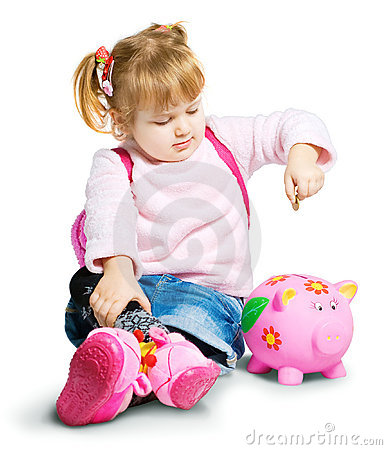 Girl With Money Box Royalty Free Stock Images - Image: 17475919