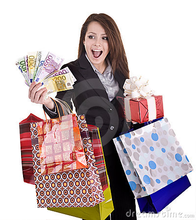 Girl with money, gift, box.